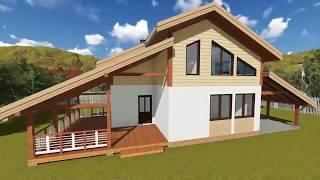 3D визуализация технологии строительства каркасного дома