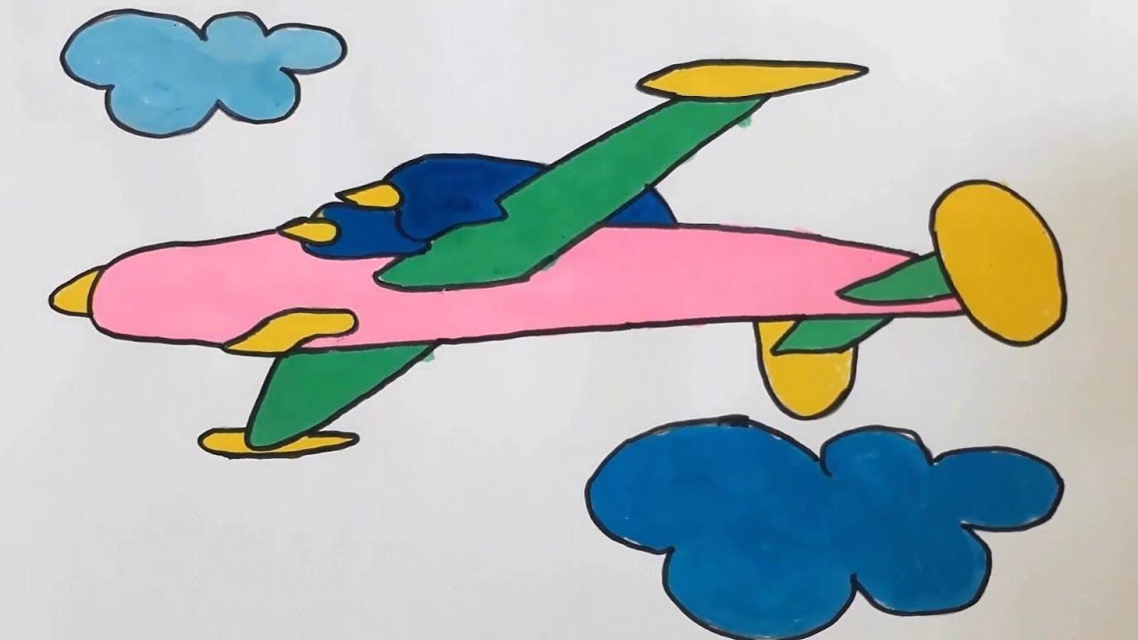 How To Drawing Color Plane For Kids Step By Step Easy Kids Draw Youtube