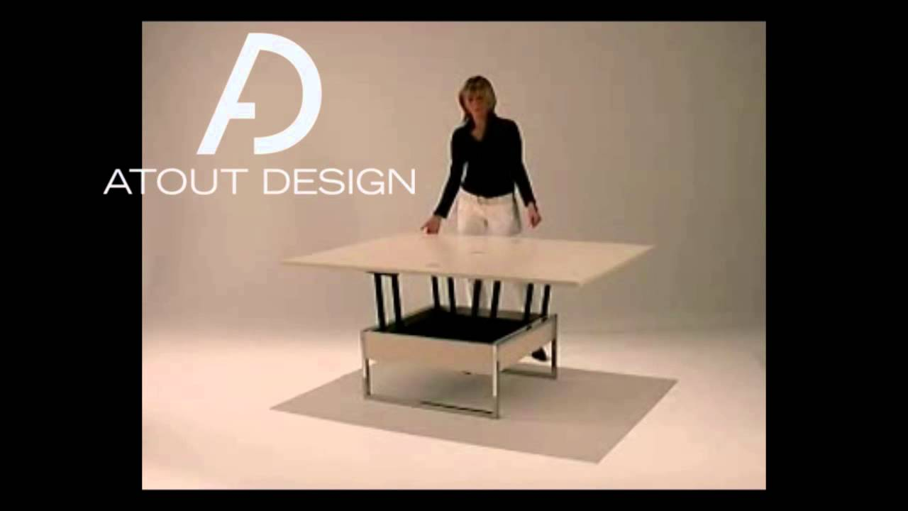 Table basse relevable gain de place youtube for Table gain de place
