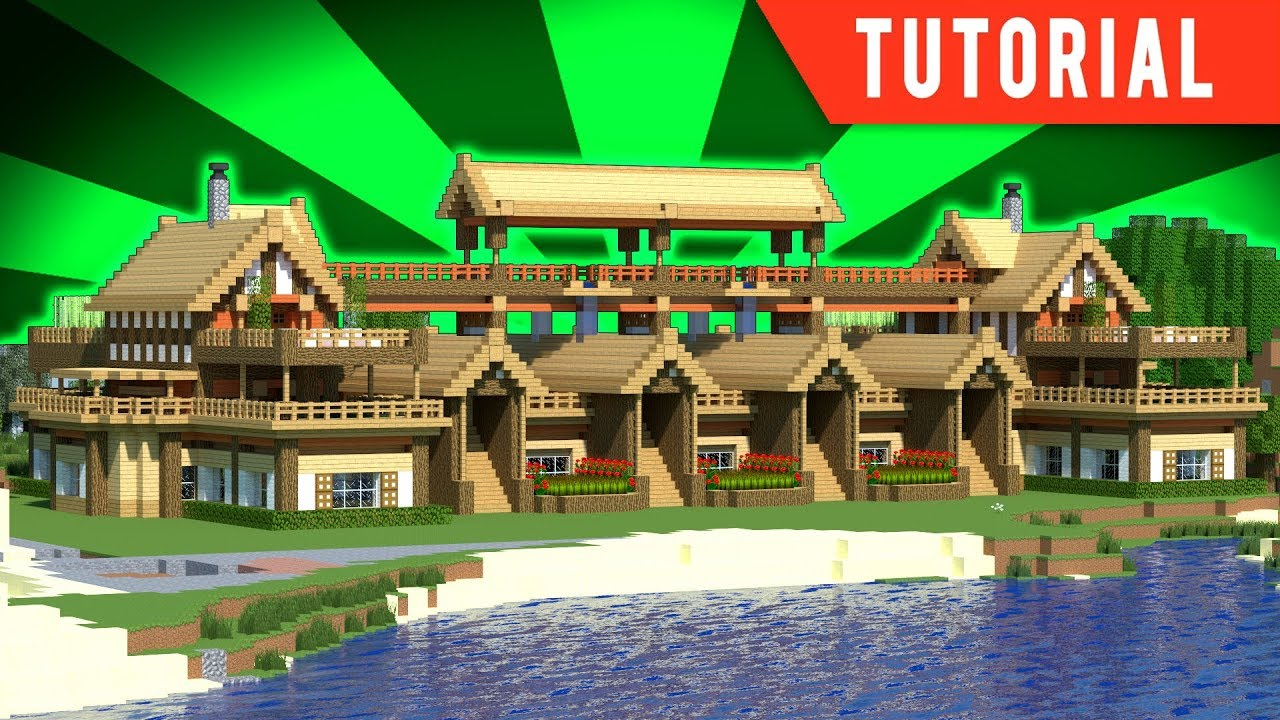 Minecraft - How To Build A Large Wooden Mansion - Tutorial