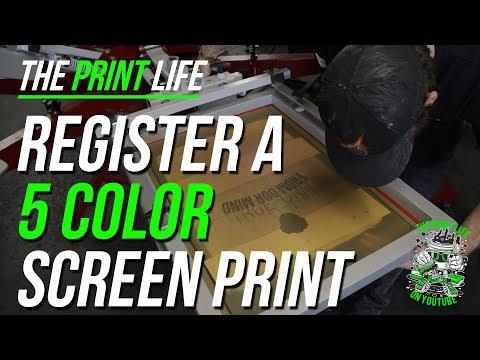 Registering a 5 color Screen Print Job on a Manual Screen Printing Press   Anato