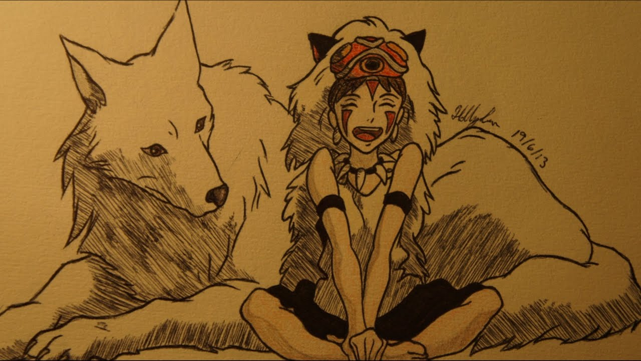 San Princess Mononoke Speed Drawing Youtube