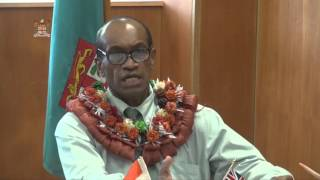 Fijian Minister for Health, Hon. Jone Usamate receives medical equipment from Indian Government