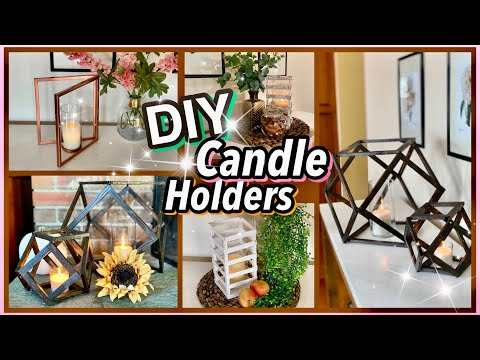 3 FUN Dollar Tree DIY CANDLE HOLDERS!!