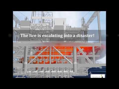 Escalation of a hydrocarbon fire on an offshore platform predicted by KAMELEON FIREEX KFX