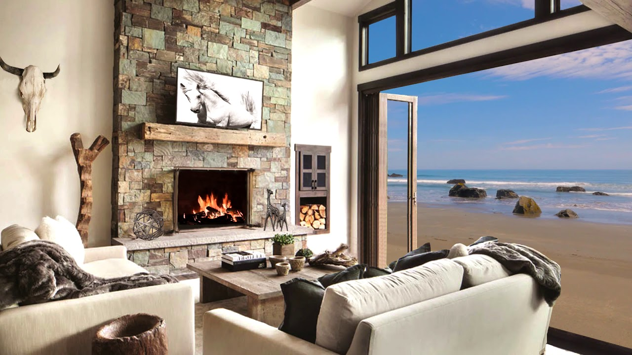 HD Beach House Fireplace Screensaver Background - Cosy Living room fire  crackling sound only - 2 hrs
