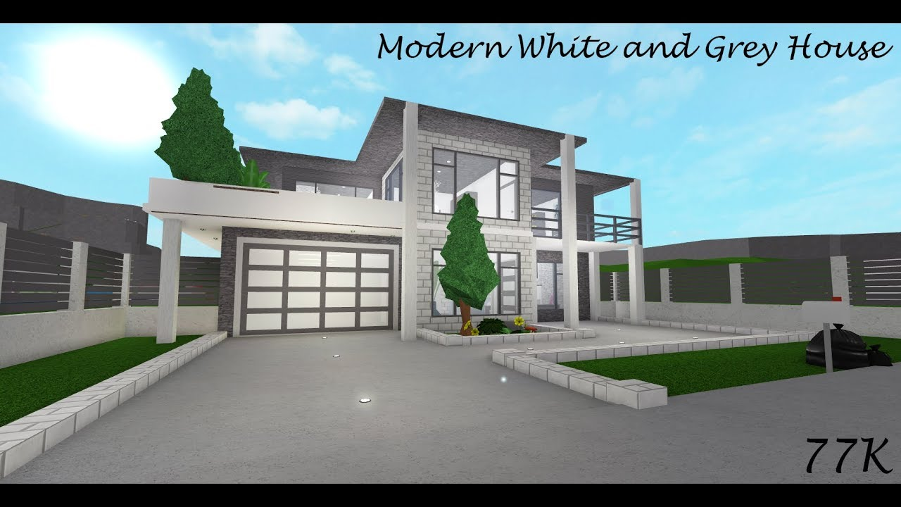 Roblox Welcome To Bloxburg Modern Grey And White House 77k