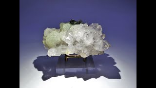 Botryoidal Prehnite on Quartz with Epidote Crystals and Mineral Specimen from Meigu Co., China