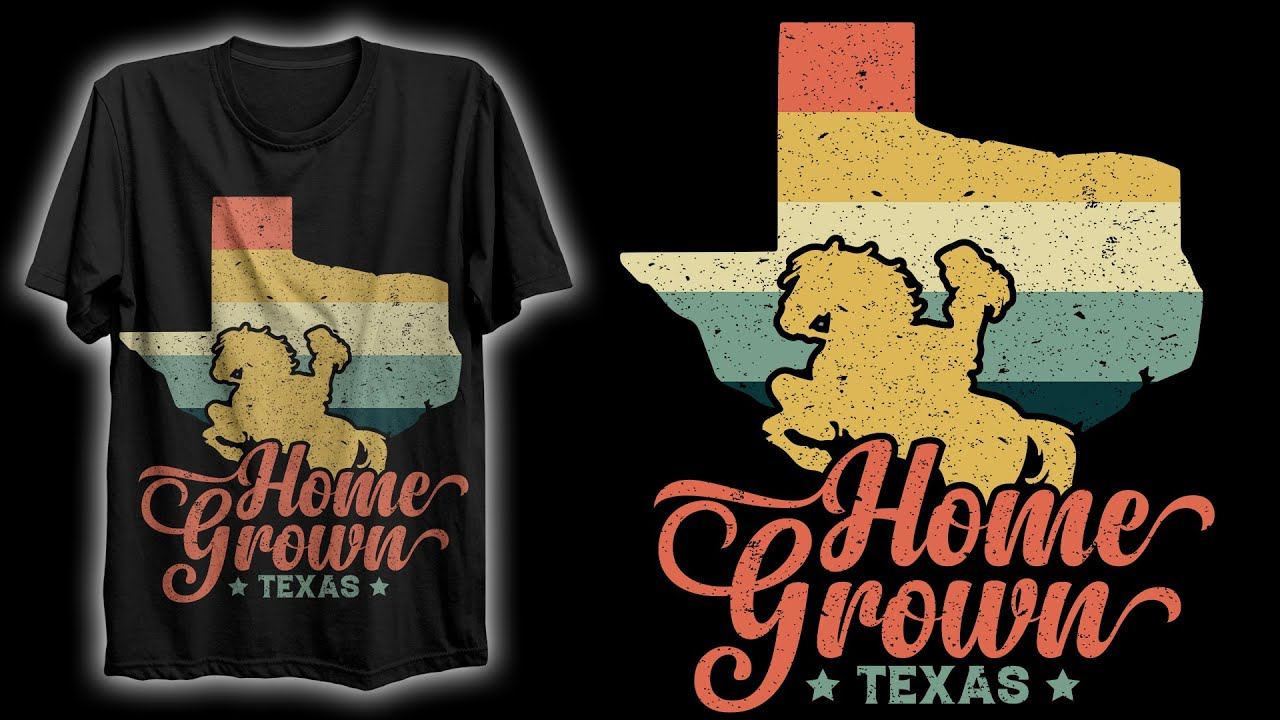 Vintage Texas T-Shirt Design | Retro/Vintage T-Shirt Design | T-Shirt Design In Illustrator