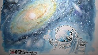 astronaut open space smoker /astronauta Fumatore spaziale - speed drawing • NFJ drawings