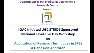 Application of Research Techniques in SPSS A Hands-on Approach- DAY 01