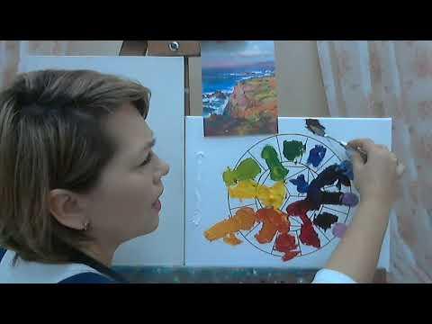 Как написать пейзаж маслом тремя основными цветами. Правило смешивания красок.