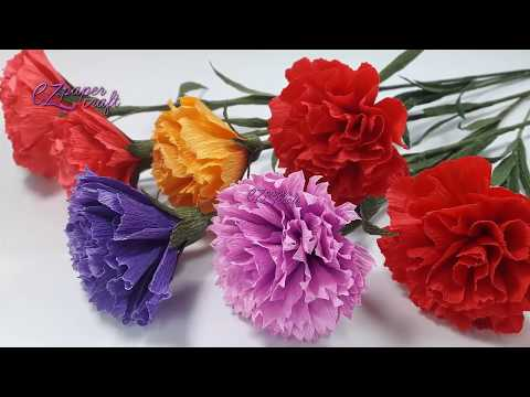How to make paper Carnation flowers from crepe paper | Easy DIY paper flower tutorial