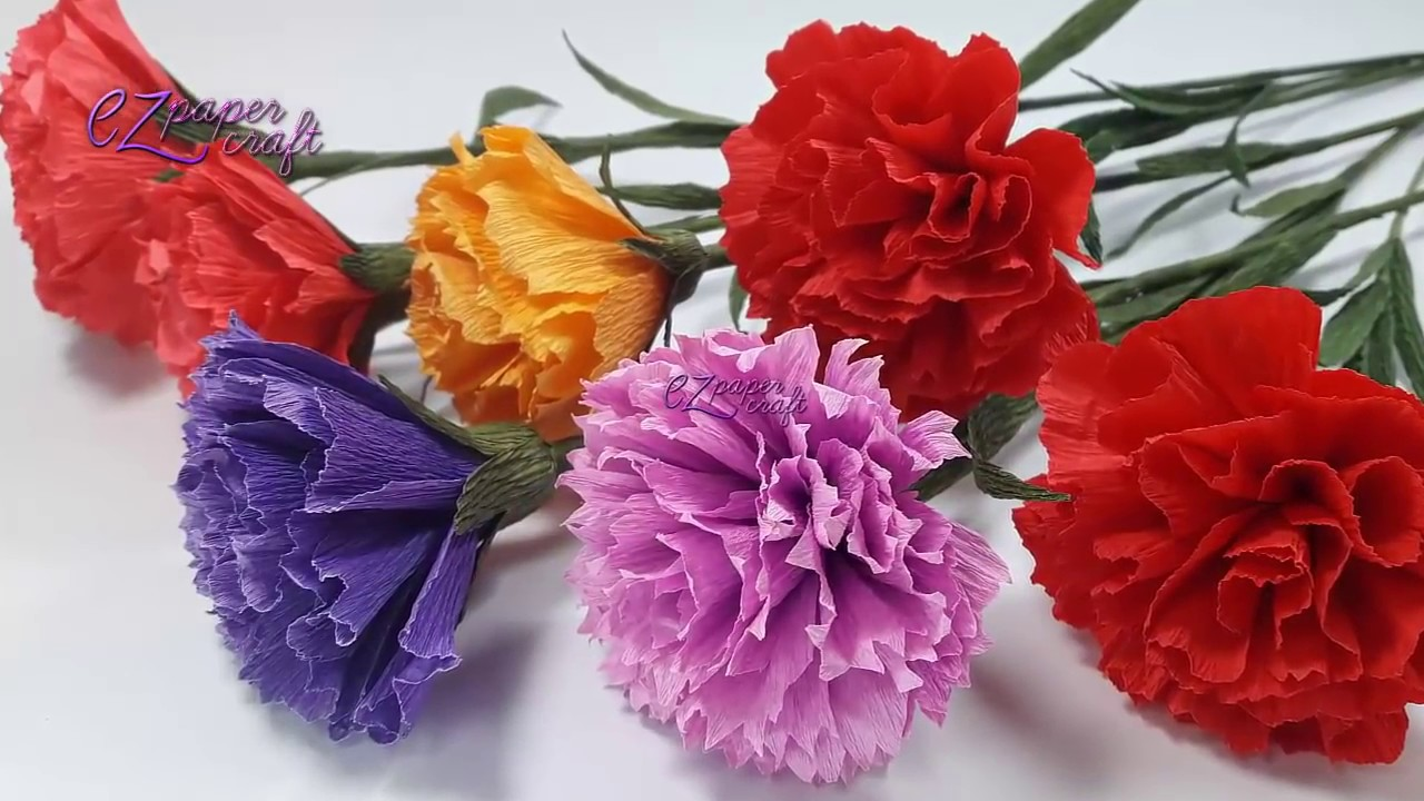 How To Make Paper Carnation Flowers From Crepe Paper Easy Diy Paper Flower Tutorial