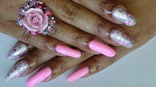 BORNPRETTYSTORE  Pink Silver Floral Decals Nail Art Design