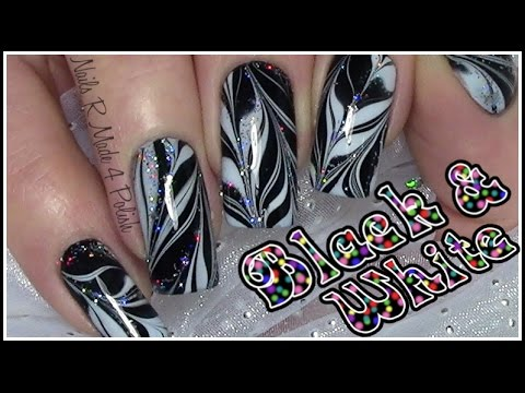 water marble nails black white buntes glitzer silvester nageldesign n gel lackieren youtube. Black Bedroom Furniture Sets. Home Design Ideas