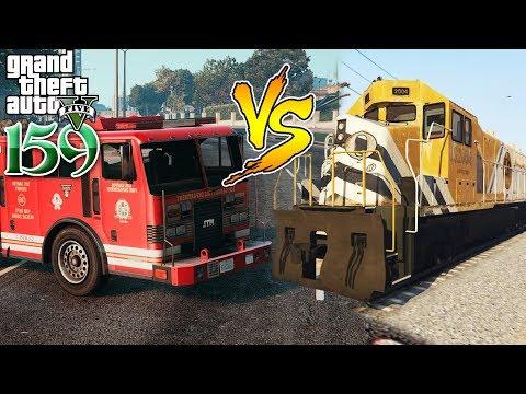 រថភ្លើងប៉ះគ្នាជាឡានពន្លត់អគ្គីភ័យ ពិតជាញ័រផ្លោក - Train vs Fire Truck GTA 5 MOD Ep158 Khmer|VPROGAME