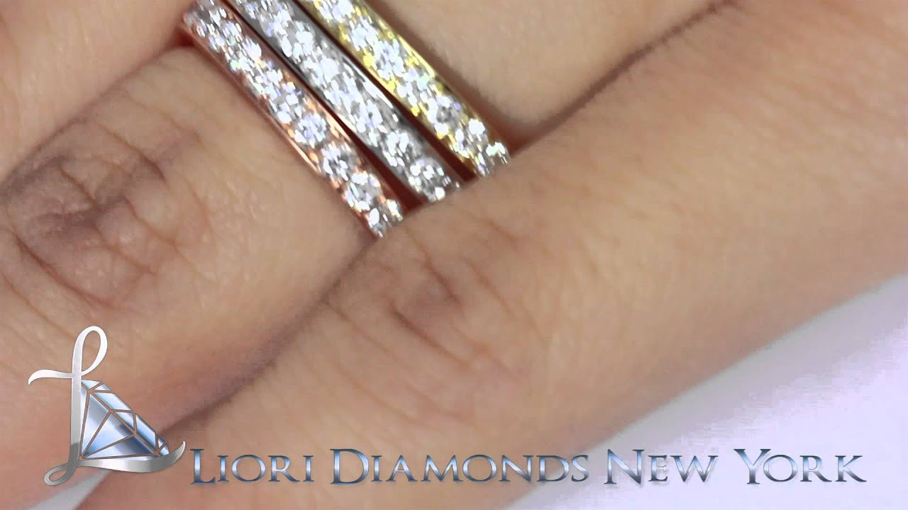 tri g f set certified twt diamond of band stackable rings d gold color in ct