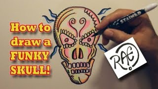 HOW TO DRAW A FUNKY SKULL step by step Live with RAEART