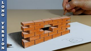 Try to do 3D Trick Art on Paper, The wall, Long Version