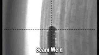 Seam welding with an Amada Miyachi laser, as seen through a CCTV vi...