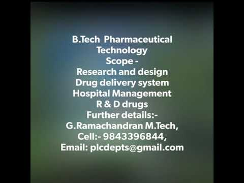 Guide to choose a career after B.Tech Pharmaceutical Technology 4 years course duration in Tamilnadu