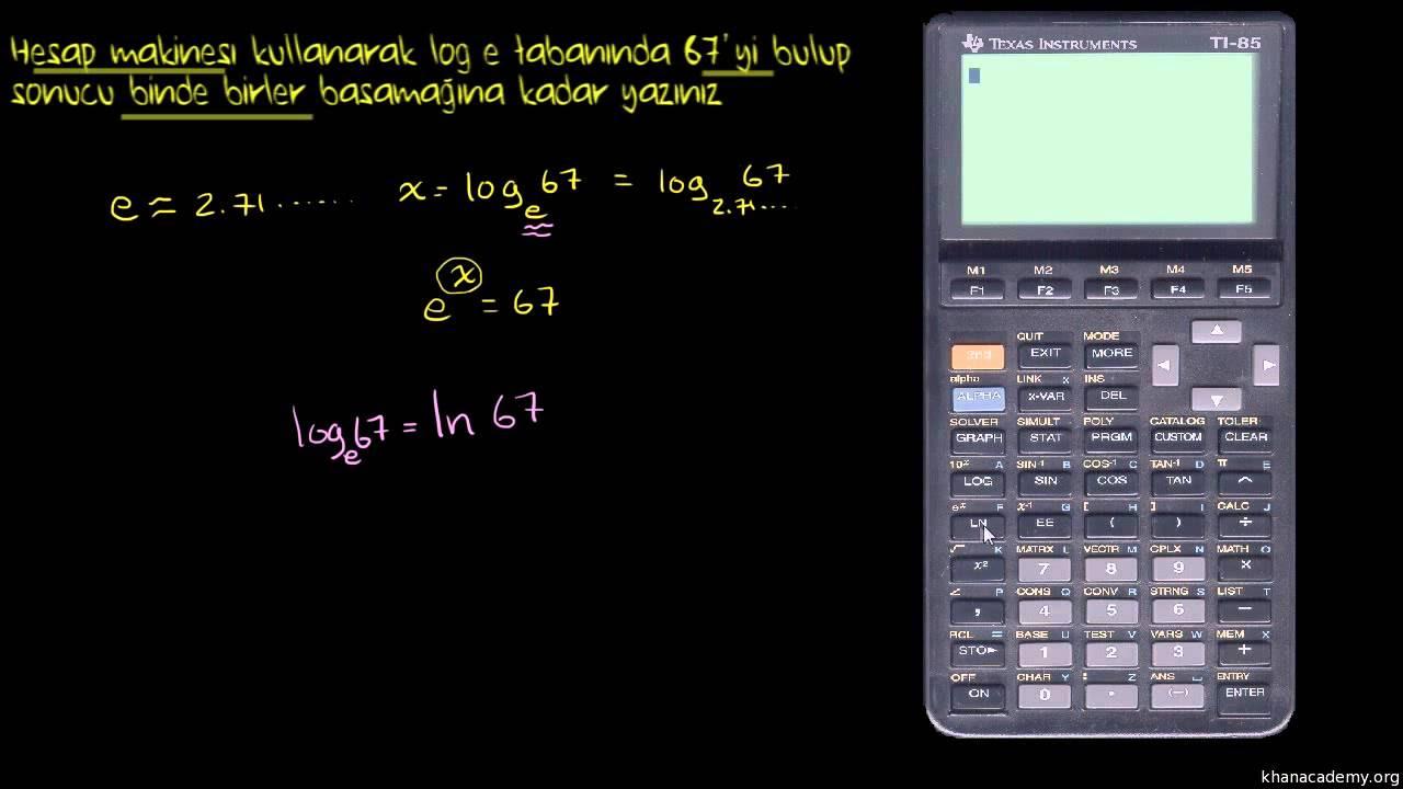 Doğal Logaritmanın Değerini Hesap Makinesi ile Bulma (Matematik / Cebir)