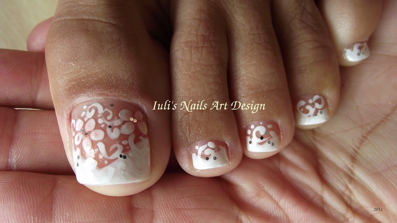 Wedding Toe Nail Art Design White on White French pedicure art ...