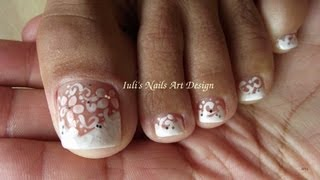 Wedding Toe Nail Art Design White on White French pedicure art design(Hello World! As I told you today I will share with you all my last Wedding Toe/Nail Art Design from this series. Hope you like it,share it and feel free and share ..., 2013-10-09T08:03:21.000Z)