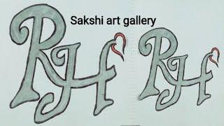 Zeichnen mit Buchstaben R❤H Paar und Liebhaber Buchstaben Tattoo Zeichnung