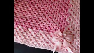 Crochet NEWBORN baby blanket. Delicate soft beautiful granny blanket