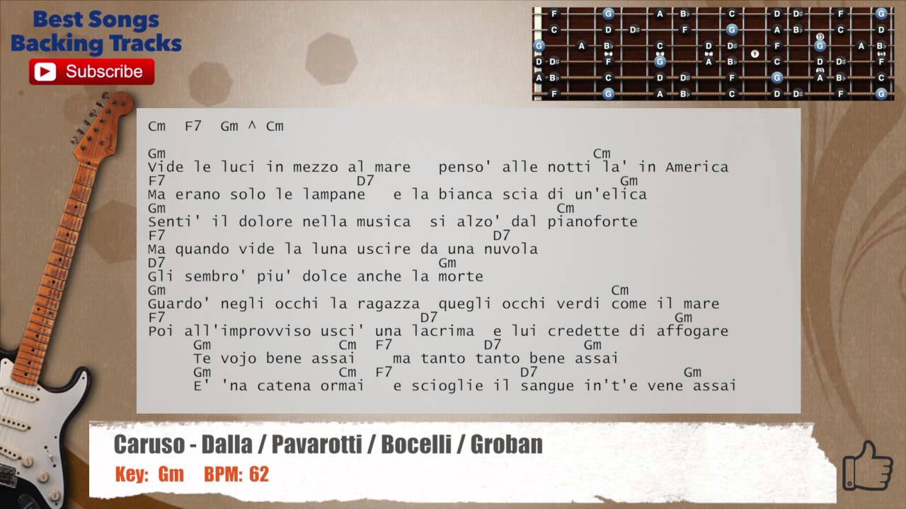 super cute buy popular ever popular Caruso - Dalla / Pavarotti / Bocelli / Groban Guitar Backing Track with  scale, chords and lyrics