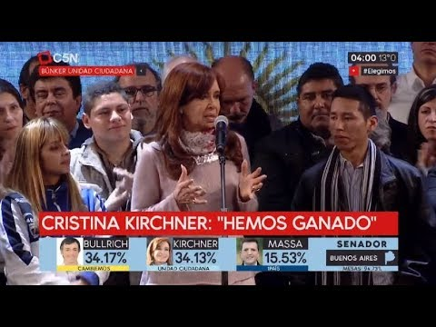 Elecciones 2017: Habla Cristina Kirchner en el búnker tras las PASO