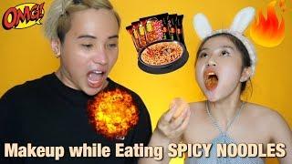 THỬ THÁCH VỪA MAKEUP VỪA ĂN MỲ SIÊU CAY ??? | MAKEUP WHILE EATING SPICY NOODLES ft. TY LÊ