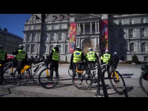 SPVM Bicycle Police At Montreal City Hall La Meute Protest 00002