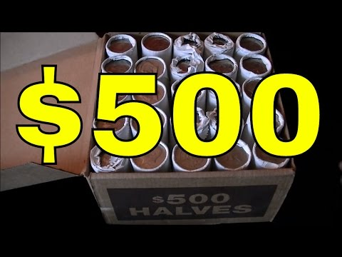 JACKPOT! $500.00 BANK SEALED HALF DOLLARS SEARCH   Coin Roll Hunting For Treasure With JD!