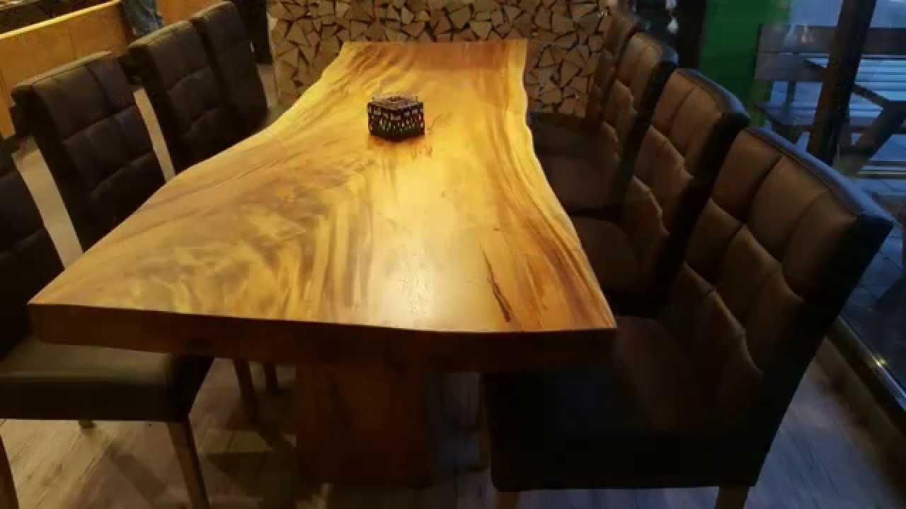 massivholztisch aus einem baumstamm youtube. Black Bedroom Furniture Sets. Home Design Ideas