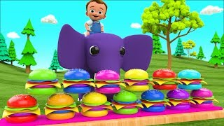 Colors for Children to Learning with Little Baby Fun Ride on Elephant Color Burgers 3D Kids Edu
