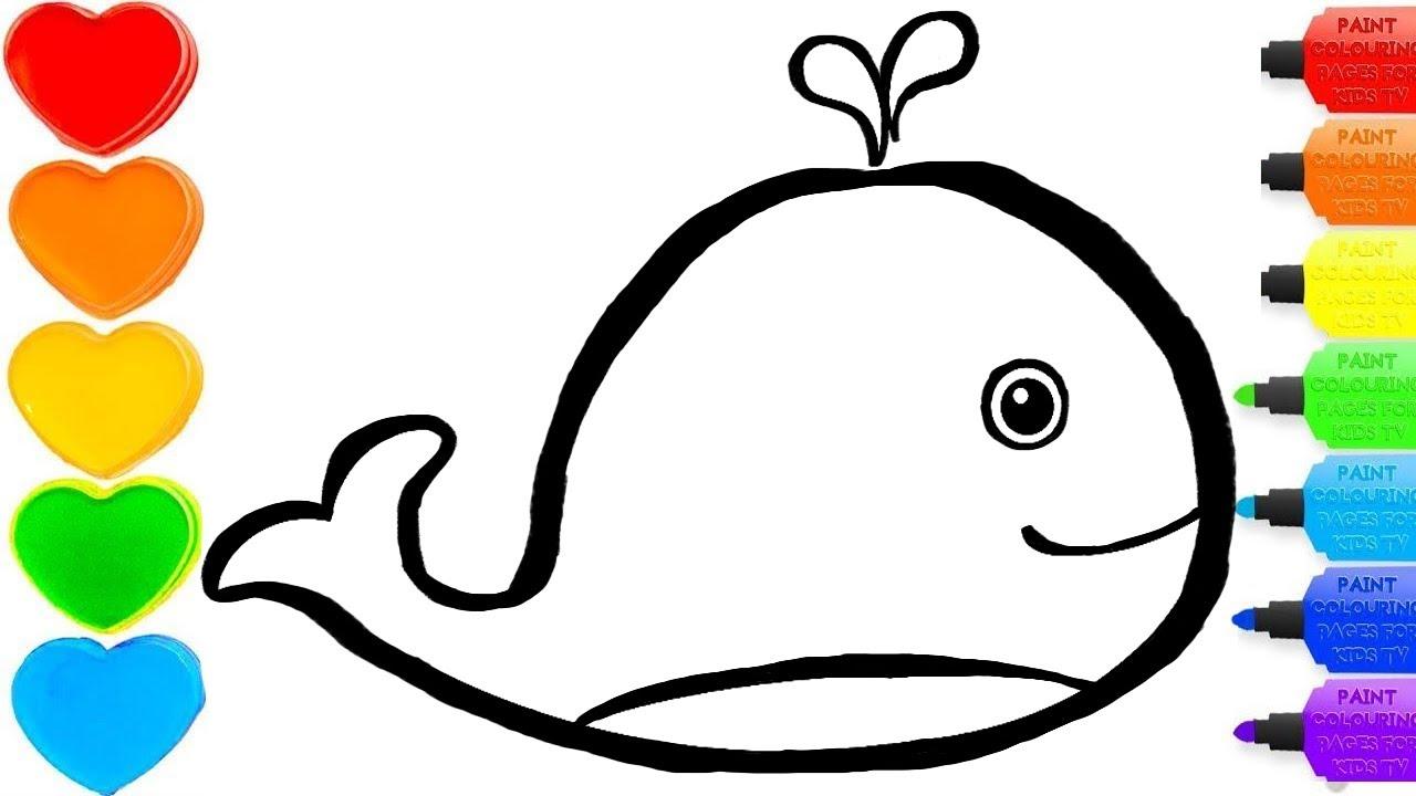 whale glitter drawing & coloring -  #colorsforchildren & #coloring& #kidscartoon