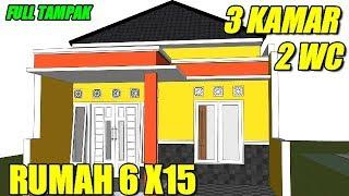 ukuran 6x15 denah rumah 6x15 3 kamar tidur 1 lantai