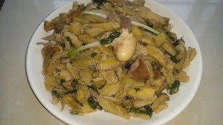 Cách làm món mề gà xào chuối xanh
