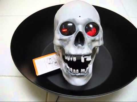 talking skull halloween candy dish - Talking Skull Halloween