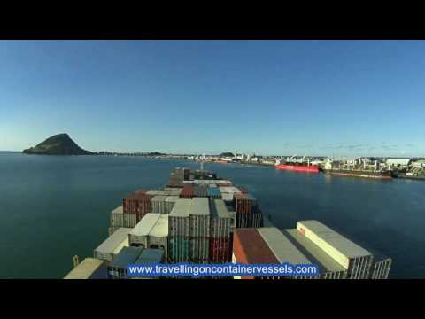 Container vessel leaving the port of Tauranga, New Zealand