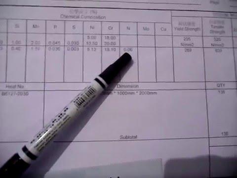 Сертификат на нержавеющую сталь AISI 304 Taiwan. Как различить стали AISI 201 и 430.