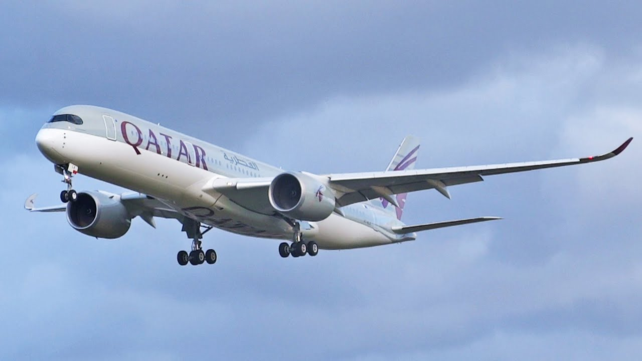 Qatar Airways Airbus A350 'FIRST VISIT' Landing at London ...  Qatar Airways A...