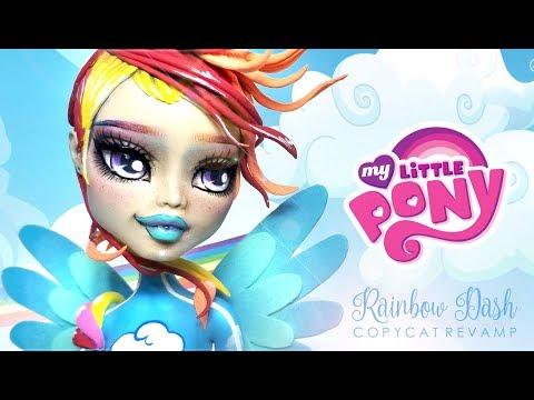 Doll Repaint RAINBOW DASH MLP My  Little Pony Monster High Custom Ooak