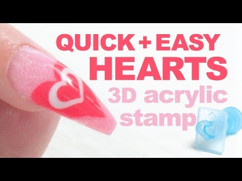 Easy Acrylic Heart Nail Design Using Chisel Nail Art 3d Stamps And