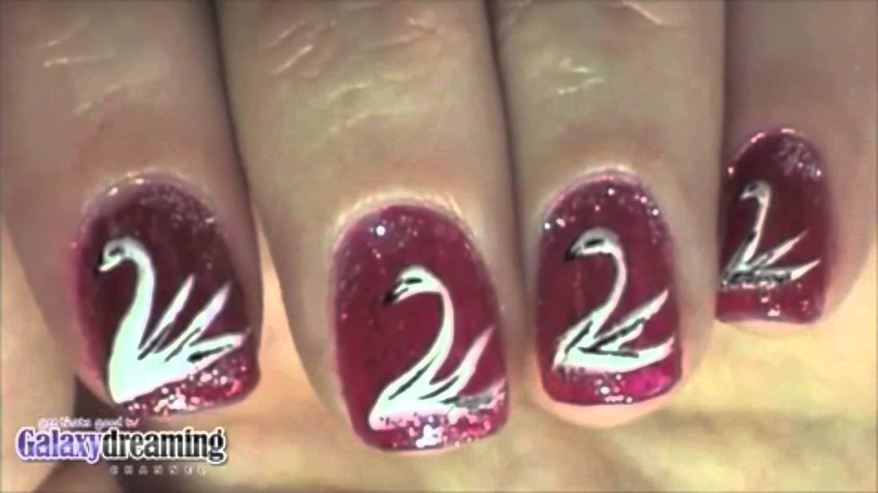 Swan and Love Bird Nail Art - YouTube