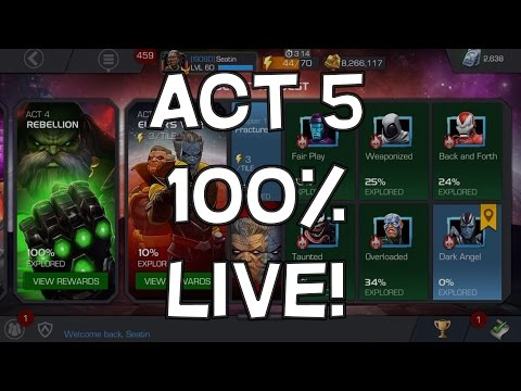 Act 5 Elder's War 100% Clear LIVE Part 2 1.4, 1.5 & 1.6 - Marvel Contest Of Champions