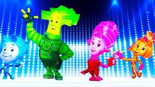 ФИКСИКИ танцуют и поют мультипликационные герои песня Тыдыщ кавер версия